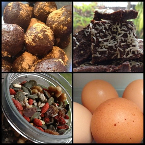 Clockwise: Balls of joy, slice of joy (just a fancier version of the balls that I ran out of time to roll), hard boiled eggs and home made trail mix.